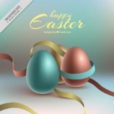复活节彩蛋和丝带的现实背景