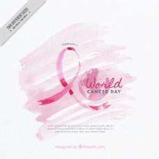 世界癌症日的水彩背景粉红色背景