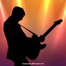 外形吉他手剪影