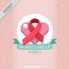 世界癌症日心脏背景带红丝带