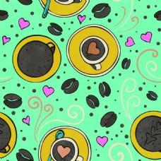 绿色手绘卡通创意咖啡下午茶店铺设计海报
