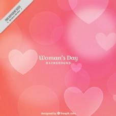 粉红色的背景虚化的心灵背景的妇女节