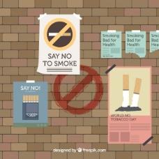 世界无烟日背景与海报墙
