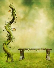 绿色树干长椅H5背景图
