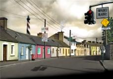 城市街道风景画H5背景图