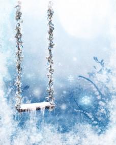 冰雪世界的秋千玄关背景墙装饰画