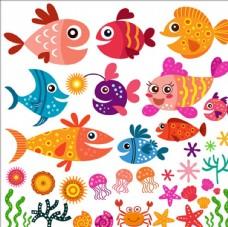 卡通夏季魚類和貝殼收集
