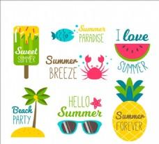 有趣的夏天贴纸