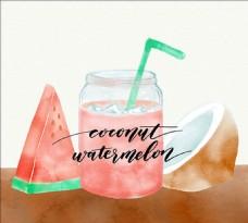水彩椰子和西瓜汁