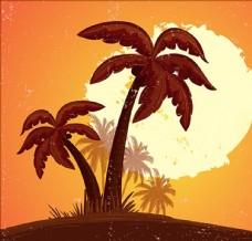 日落和棕榈树的背景