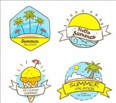 手绘的夏天元素集