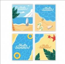 四张夏季的装饰性卡片