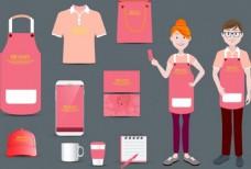 美容院身份设置粉红色饰品矢量图