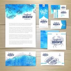 蓝色水彩餐饮VI设计