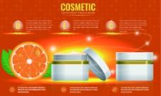 橙子护肤乳护肤品精油广告图瓶子矢量