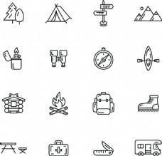 黑白简约线条icon登山远足