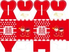 中国传统红喜糖盒包装盒