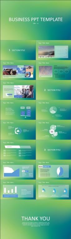 蓝绿渐变背景简约半透明图表iOS风格工作汇报ppt模板