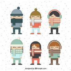 孩子们用漂亮的围巾设计平面图案。