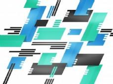 具有绿色、蓝色和灰色色彩的几何建筑图案的现代抽象背景。