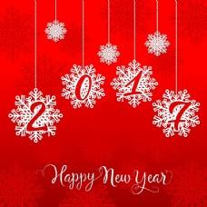 红色背景雪花新年