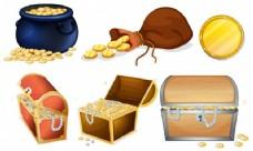不同的箱子和一罐金子插图
