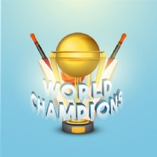 世界冠军文本设计与黄金奖杯,蝙蝠和球在闪亮的天空蓝色背景的板球概念。
