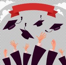 手抛毕业帽子插图免抠png透明图层素材