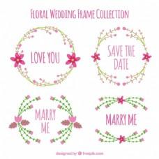 美丽的婚礼框架与粉红色的花朵