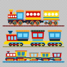 彩色卡通火车插图免抠png透明图层素材