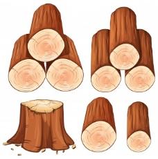 一堆柴火和树桩树插图