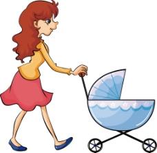 手绘妈妈推婴儿车