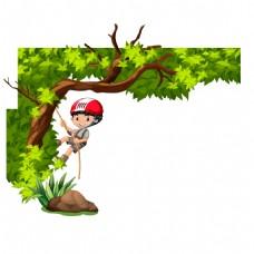 手绘爬树儿童元素