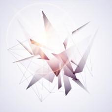 有连通线的有光泽抽象几何三角形单元。