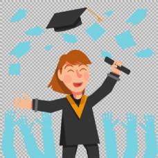 毕业生插图免抠png透明图层素材