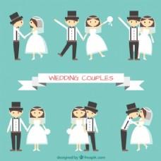不同姿态的平婚夫妇