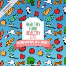 手绘健康食品背景