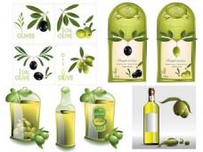 绿色纯天然橄榄油矢量图