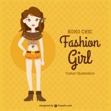手绘时尚女孩与波希米亚的衣服
