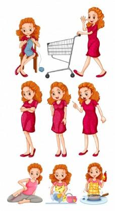 女人做不同的活动插画