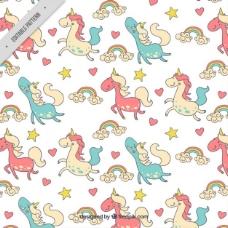手绘幸福色的独角兽与彩虹图案