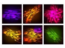 六个抽象效果集,包括紫色几何条纹、圆点和发光波。