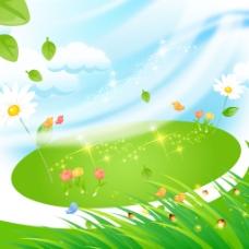 萤火虫高光光晕小鸟青草树叶花朵素材
