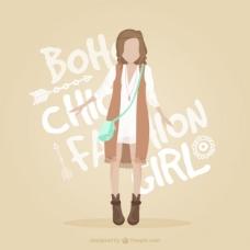 时尚女孩与时尚的波希米亚的衣服