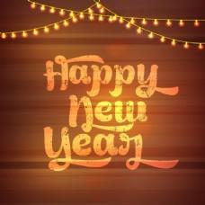 装饰灯泡的新年背景