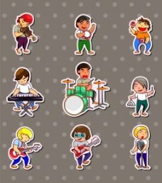 乐器男生儿童卡通贴纸标签矢量