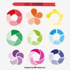 五颜六色的饼图收集