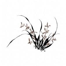 手绘水墨兰花元素