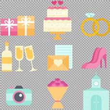 彩色结婚婚礼元素免抠png透明图层素材