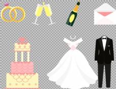 爱情婚礼元素礼服免抠png透明图层素材